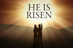 Christian family and text of He is risen Stock Photography