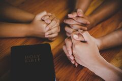 Free Christian Family Worship God In Home Stock Image - 182701031