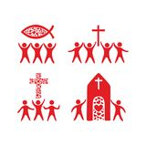 Christian family. Worship God. Religious rites. Church Royalty Free Illustration