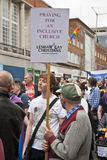 Christian festival goers hold up banners Royalty Free Stock Photography