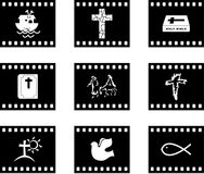 Christian film. Set of six Christian film style icon buttons Stock Image