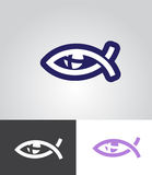 Christian fish as eye symbol. With cross in eyeball as christian emblem abstract vector illustration Stock Photos