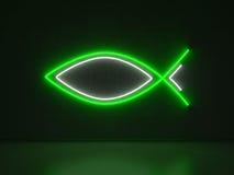 Christian Fish - insegne al neon di serie Fotografie Stock Libere da Diritti