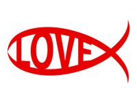 Christian fish love word symbol sign. Isolated Stock Photos