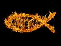 Christian Fish On Fire Stock Photo
