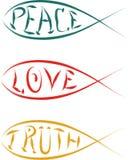Christian fish religion. Christian fish peace love truth religion symbols Stock Image