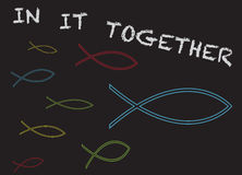Christian Fish in it Together Stock Photo