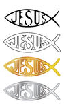 Christian fishes. White, black, silver and gold christian fish symbol - illustration Stock Photos