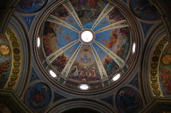 Christian fresco. Colorful fresco paintings on the ceiling of a church Royalty Free Stock Photo