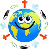 Christian globe. Cartoon world globe surrounded by Christian icons Stock Photo