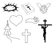 Christian hand-drawn symbols illustration. Cross,bible, church, heart Stock Images