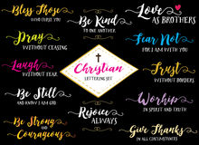 Christian Hand Lettering Vector Set Stock Foto