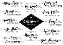 Christian Hand Lettering Vector Set, Black On White Stock Photo