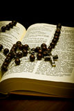 Christian Holy Bible with Crucifix Stock Photography
