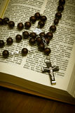 Christian Holy Bible with Crucifix Royalty Free Stock Photography