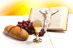 Christian holy communion, bright background, saturated concept.  stock image