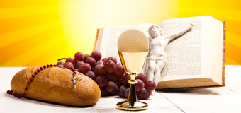 Christian holy communion, bright background, saturated concept Stock Images