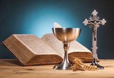 Christian holy communion. Composition on wooden table Stock Images