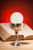 Christian holy communion. Composition on wooden table royalty free stock photo