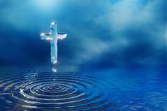 Christian holy spirit water cross. Christian holy water cross in blue clouds, miracle concept, 3D illustration vector illustration