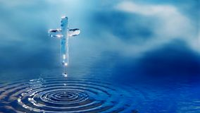 Christian holy water cross concept stock footage