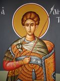 Christian icon. Wall painting in greece church Royalty Free Stock Image