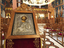 Christian icon in a church. A close up to an icon of Jesus in an orthodox church stock photography