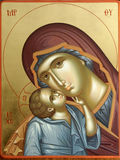 Christian icon-detail. Old icon representing vergin Mary with child Jesus Royalty Free Stock Photos