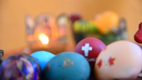 Christian icon and eggs on Easter stock video