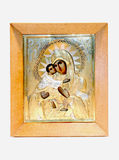 Christian icon with the face of the Vladimir Mother of God holdi Stock Photography