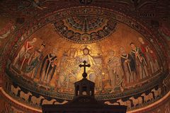 Christian icon mosaic on dome of basilica di Santa Maria in Trastevere in Rome, Italy royalty free stock image