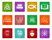 Christian Icon Set. A set of Christian religious icons and symbols including Christian fish, crosses and others Royalty Free Stock Photo