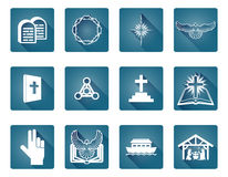 Christian Icon Set. A set of Christian religious icons and symbols star of Bethlehem, cross and white dove Royalty Free Stock Photo