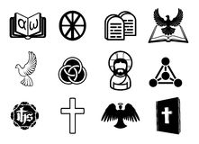 Christian icon set. A Christian religious icon set with signs and symbols related to Christian themes Royalty Free Stock Image