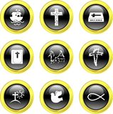 Christian icons. Set of Christian icons on black glossy buttons isolated on white Stock Image