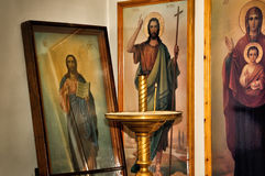 Christian icons in the church Stock Photo