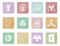 Christian Icons. A set of Christian religious icons and symbols including angel, Jesus Christ, cross, and white dove Stock Photo