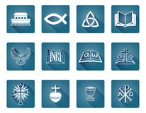 Christian Icons. A set of Christian religious icons and symbols including fish and noah s ark Royalty Free Stock Images