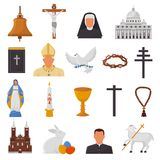 Christian icons vector christianity religion signs and religious symbols church faith christ bible cross hands praying. To God biblical illustration isolated on Royalty Free Stock Photography