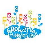 Christian illustration. Growing in Christ`s love royalty free illustration