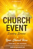Christian invitation poster template. Religious flyer card for Church service event. EPS 10 vector illustration