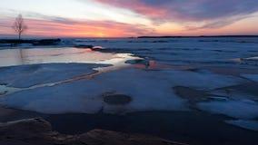 Christian Island Sunset - georgisk fjärd i vinter Arkivbild