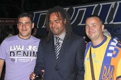 Christian Karembeu after the match of Euro 2012 in Donetsk with Royalty Free Stock Photography