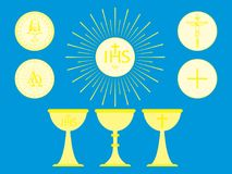 Christian liturgical objects. Host. Consecrated bread and chalice. Historical symbol of the Christian faith stock illustration