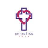 Christian Love e a opinião verdadeira no deus vector o DES criativo do símbolo Fotos de Stock Royalty Free