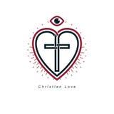 Christian Love e a opinião verdadeira no deus vector o DES criativo do símbolo Foto de Stock