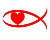 Christian love red heart sign symbol Stock Image