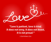 Free Christian Love Scripture With Heart And Cross On Red Background Stock Image - 86326341