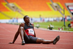 Christian Malcolm (UK) at Grand Sports Arena. MOSCOW - JUN 11: Christian Malcolm (UK) at Grand Sports Arena of Luzhniki Olympic Complex during International stock photo