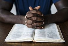 Christian man is reading a bible Royalty Free Stock Photo